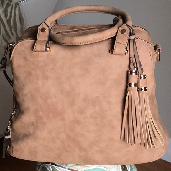 8b5a0336a0 Violet Ray Faux Suede Triple Compartment Satchel. M 5bf1c4f103087c0a56bc5cbd